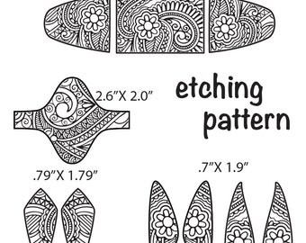 Combo Digital Pattern for Etching Floral Cuff, Earring, Ring Download -dp-nz-4096-1