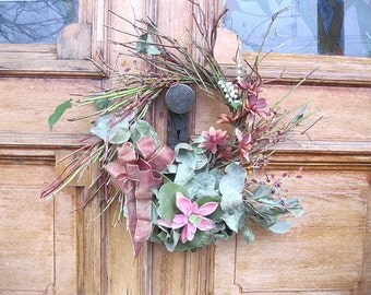 DOROTHY  WREATH   Twigs and VINTAGE plastic flowers for Spring
