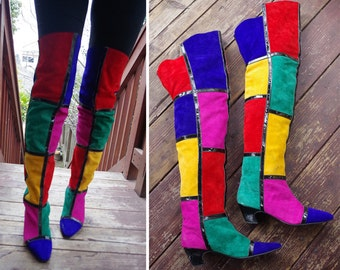 Color BLOCK 1980's 90's Vintage Tall Thigh High Bright Rainbow Suede Leather Boots // Mondrian Blocks // size 8 - 8.5 M