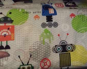 Robots and Gears iBot Red Rooster modern cotton fabric 1 yard BTY