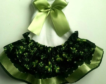 Dog Tee Shirt Dress St Patricks Day Green shamrocks for that small dog Sample Small Only