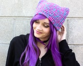Candy Sprinkles Kitty Ear Hat - Multicolored Pink, Purple & Blue Cat Eared Crocheted Beanie - Ready To Ship