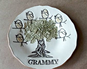 GRAMMY 6 Birdy Ceramic  Trinket Bowl edged in gold  Mothers day