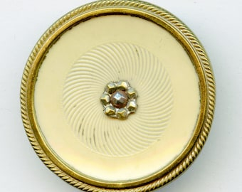 "Large Victorian Celluloid Button with Pressed Steel Center 1 1/2"" 3252"
