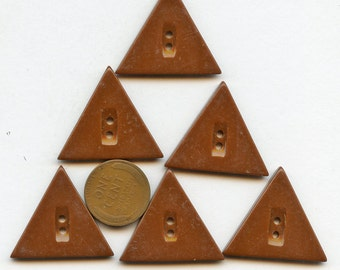 """Set of (6) BROWN Vintage Dress Buttons 1940s Art Deco Casein Chocolate Triangle Buttons 1 3/16""""  inch size 3740 More Available"""