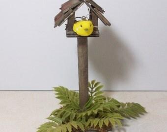 Fairy Garden yellow bird inside a  bird house