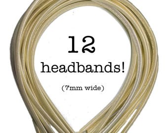 12 Butter Yellow satin headbands - skinny satin headbands in BULK