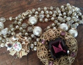 Repurpose Jewelry ... Guilloche Brooch, Chain Necklace, More ... Jewelry Supply, Steampunk. AS FOUND.