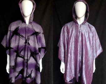 Reversible Purple Wool Serape with Crinkled Taffeta - Poncho, Cape, Ruana, Festival Coat, Unisex
