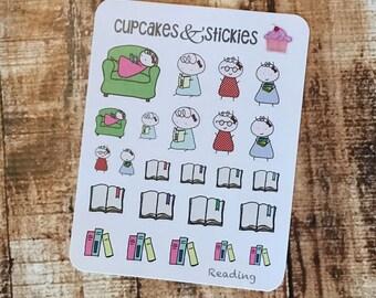 Reading Book Study Studying Planner Stickers Hand Drawn Unique Loreta StickieGirl