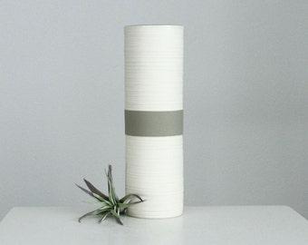 Modern Porcelain Cylinder Vase Matte Grey, Tall Groove Cylinder Vase in Matte Grey