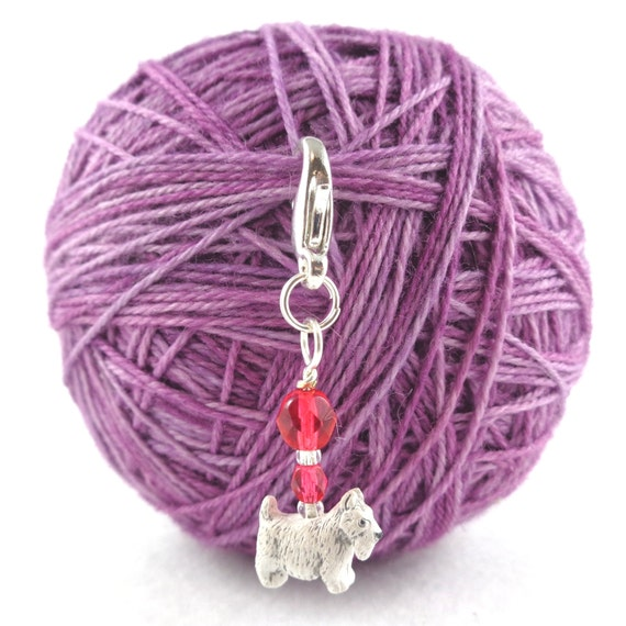 Progress Keeper Stitch Marker for Knitting or Crochet, Scottie Dog Charm, Locking and Removable