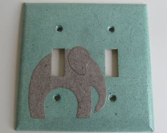 Elephant Green Light switch Plate- double- Recycled Materials