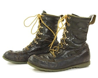 70s Ted Williams Lace Up Work Boots /Vintage 1970s Sears Leather Hunting Camping Ankle Boots / Made in USA / Men's Size 7.5 / Women's Size 9