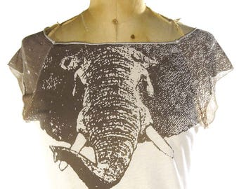 90s Elephant Ringer T-shirt / Vintage Paper Thin Grunge Rocker Soft Worn In Distressed Sleeveless Baseball Tee / Animal Print Tank / Small