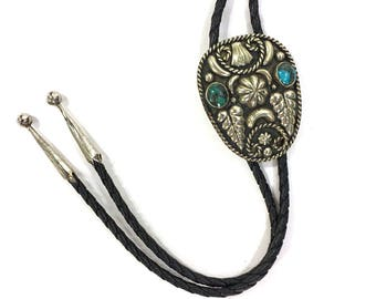 70s Sterling & Turquoise Bolo Tie / Vintage 1970s Big Mexican Sterling Silver Lariat Necklace / Native American Alpaca Mexico Jewelry