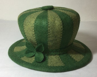 Striped  Little Green Hat - Fascinator