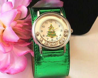 Christmas Watch, Wrap Band Watch, Vintage Christmas Watch, 1990 Watch, Quartz Movement, Christmas Gift