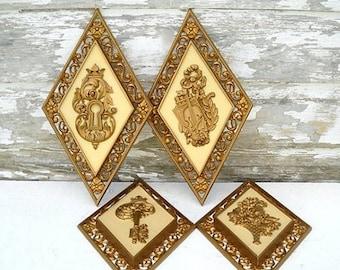 Syroco Gold Wall Plaques Set of 4 Flower Basket Violin Crown Keyhole & Key