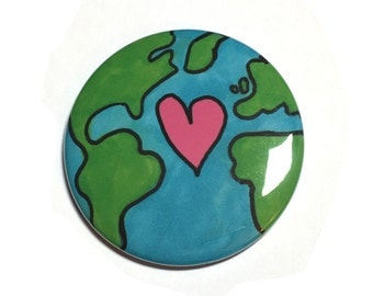 Earth Day Pin or Magnet - Mother Earth Pinback Button Badge or Fridge Magnet for March for Science or Climate Change Protest