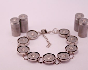 Annie Get Your Gun Recycled Silver 45 Gauge Spent Bullet Shell Bracelet
