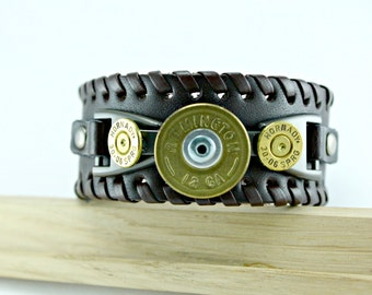 Annie Get Your Gun Brass Remington 12 Gauge Spent Shotgun Bullet Shells Brown Bracelet Cuff Band up to 9 inches long