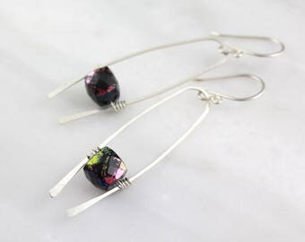 Mystic Black Spinel Cube Horseshoe Silver Earrings