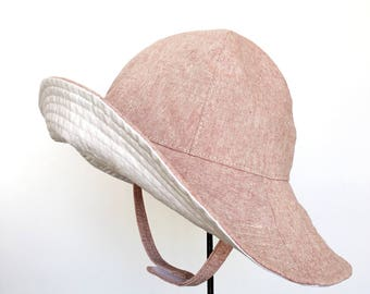 Baby Girl Wide Brim Floppy Sun Hat in Pale Pink Cotton Chambray