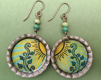 Sun Sprout - Original Illustration Jewelry - Vintage Bottle Cap Earrings - Antique Brass  - Art Jewelry - Unique Hand Made Earrings