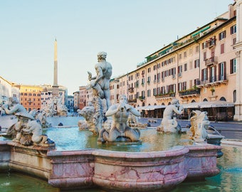 "Rome Photography, ""Piazza Navona"", Italian Decor, Large Wall Art, Home Decor, Roman Fountain and Statues, Travel Photography"