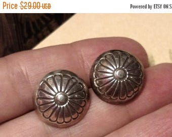 1970s Vintage Sterling Silver Concho Tribal Southwestern Sterling Silver Round Post Earrings 925 Large Stud Domed