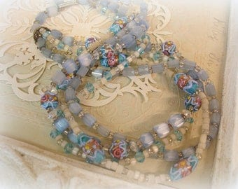 vintage 4 strand satin glass necklace circa 1930s wedding cake beads and faceted satin glass in shades of dReamy blue to die 4!!!