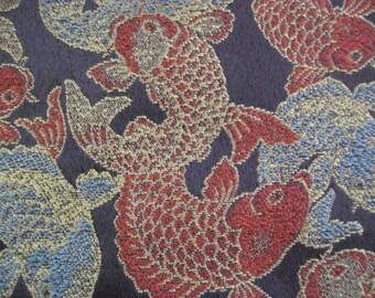 Lucky Koi Fish Embroidered Upholstery Fabric - BTY - Gold, Burnt Orange Gray and Brown