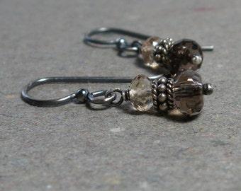 Smoky Quartz Earrings Brown Gemstones Champagne Quartz Oxidized Sterling Silver Earrings
