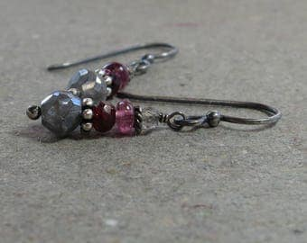 Mystic Labradorite Earrings Pink Tourmaline Oxidized Sterling Silver Earrings Gemstone Stack Gift for Her