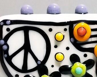 Graffiti Peace Banner Bead--Handmade Lampwork Glass Bead