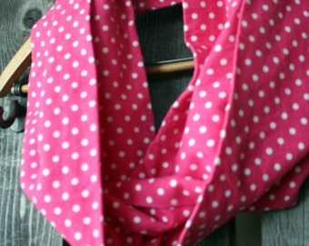 Pink & White Polka Dot Flannel Infinity Scarf