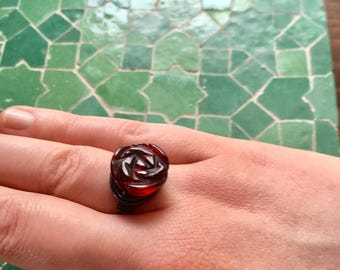 Handmade red rose ring