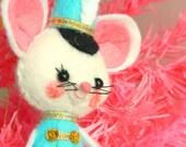Vintage Style Kitsch Felt Christmas White Drummer Mouse Ornament - Aqua Blue