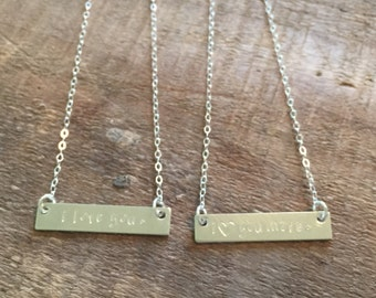 Mother daughter sterling silver necklace set-stamped mom and daughter necklaces-mothers day gift-gift for mom-mother daughter bar necklaces