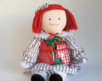 Vintage Madeline Christmas Doll by Eden Cooking Apron Genevieve Dog Cookie Cutter Oven Mitt 1990s Toys Green Red Striped Dress Foodie Gift