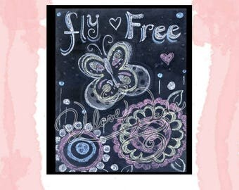 Hand Drawn Chalkboard Art Butterfly Fly Free 8x10 jpg printable
