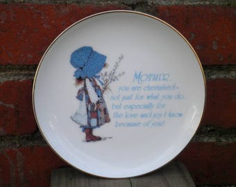 Vintage Holly Hobbie Fine Porcelain Mother's Day Gift Lasting Memories Decorative Plate Wall Hanging / Art - Retro 80s Classic Holly Hobbie