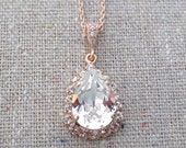 Swarovski Crystal Faux Diamond Halo Teardrop Pendant Pave Rose Gold Bridal Necklace Morganite Wedding Jewelry Bridesmaids Proposal Ask Gifts