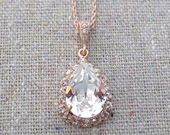 Swarovski Crystal Faux Diamond Halo Teardrop Pendant Pave Rose Gold Bridal Necklace Morganite Wedding Jewelry Bridesmaids Proposal Ask Gifts