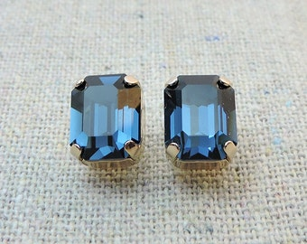 Swarovski Navy Blue Post Earrings, Montana Baguette Rose Gold Earrings, Bridal Jewelry, Wedding Earrings, Bridesmaids Gifts, Octagonal Studs