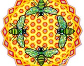 Cosmic Circle, Bees See, Honey Hive, Window Cling, Kara Rane, EcoFriendly, Vinyl Sticker Art, Third Eye, Meditation, Lightworker, Suncatcher