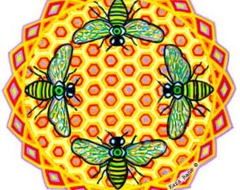 Cosmic Circle, Bees See, Honey Hive, Window Cling, Kara Rane, EcoFriendly, Vinyl Sticker Art, Third Eye, Meditation, Lightworker, Suncatcher