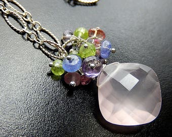 Rose Quartz Drop Necklace, Pink Necklace, Sterling Silver, Watermelon Tourmaline Gemstone Cluster