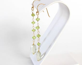 Peridot and Prasiolite Earrings - Green Amethyst, 14k Gold Fill Earwires